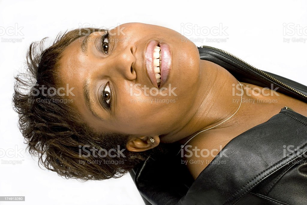 woman in leather royalty-free stock photo