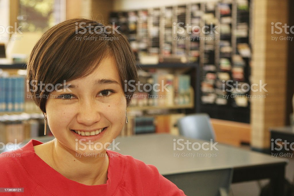 Woman in Library royalty-free stock photo