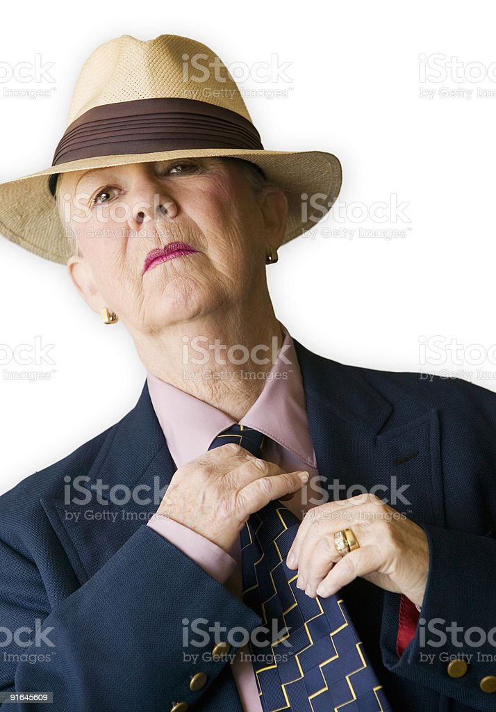 Woman in Man's Clothing stock photo
