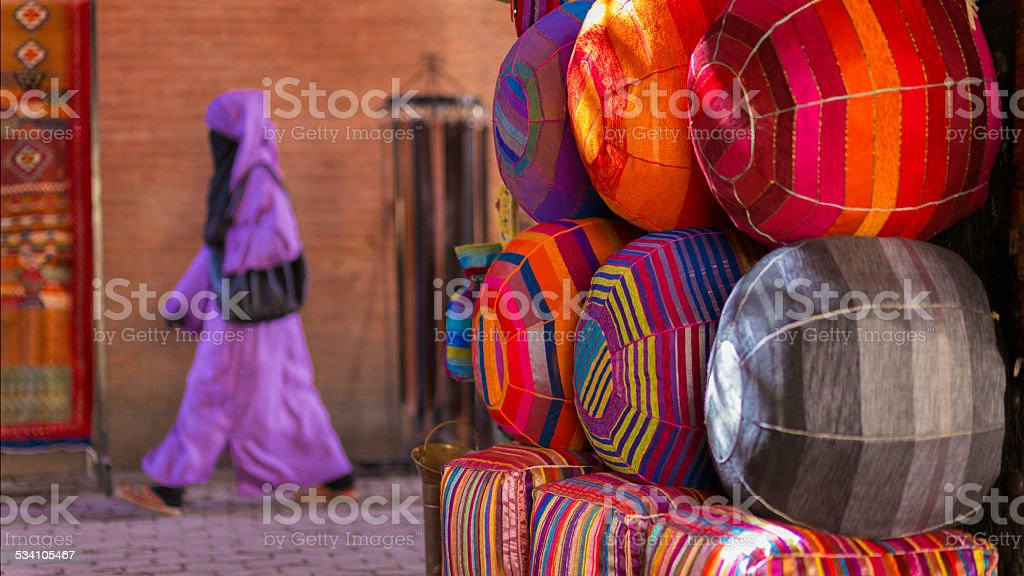 Woman in Marrakech market stock photo