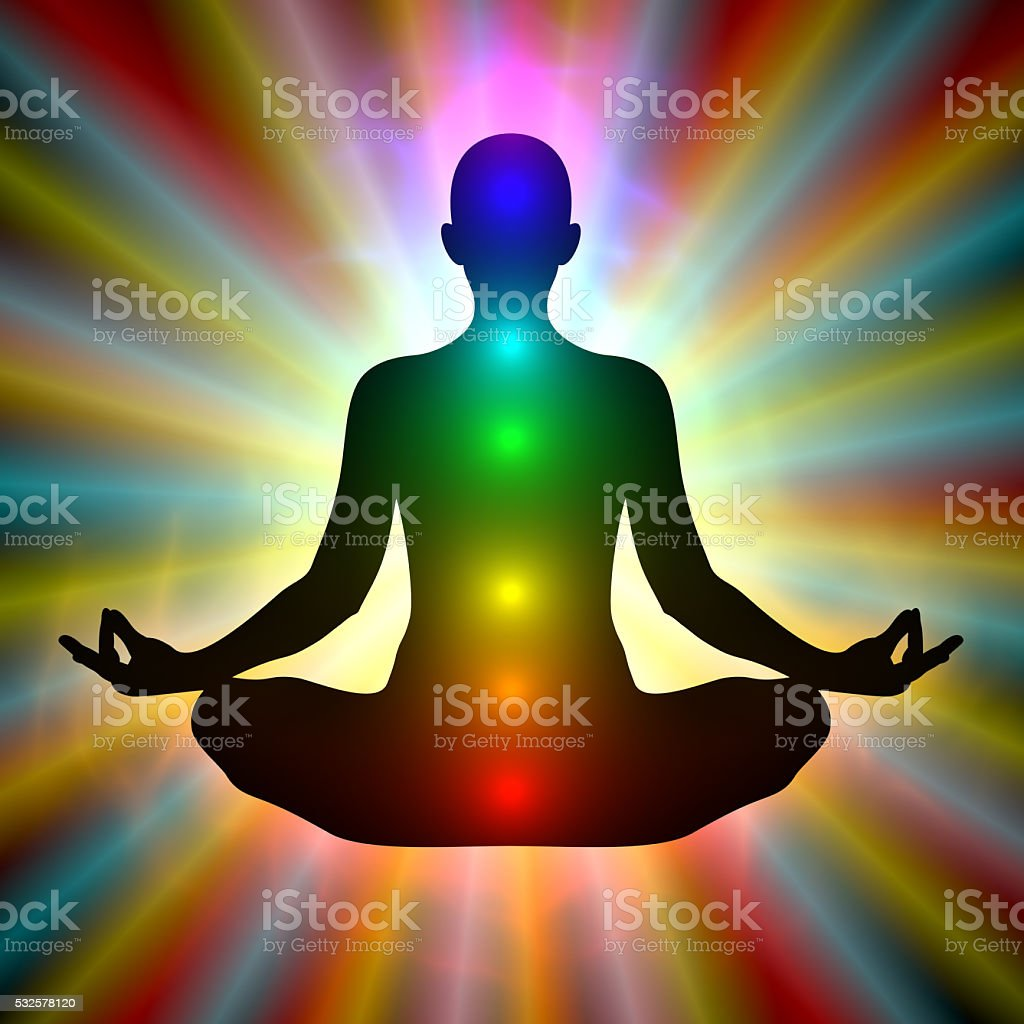 Woman in meditation - aura, chakras stock photo