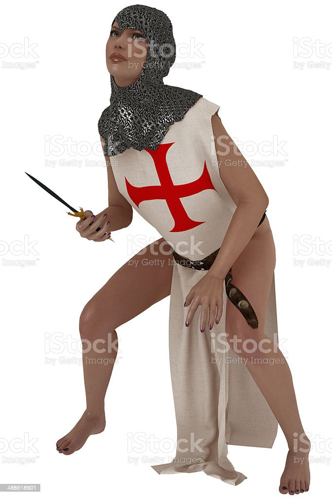 Woman in metal coif and templar tabard royalty-free stock photo