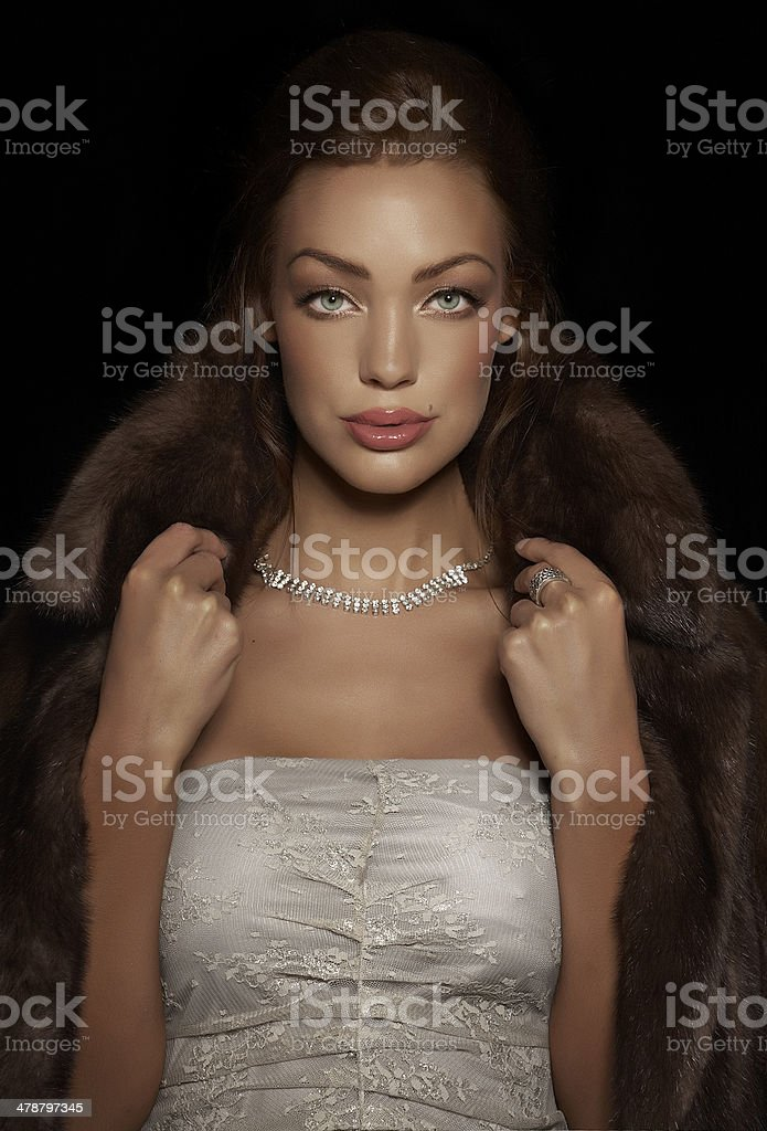 Woman In Mink Coat stock photo