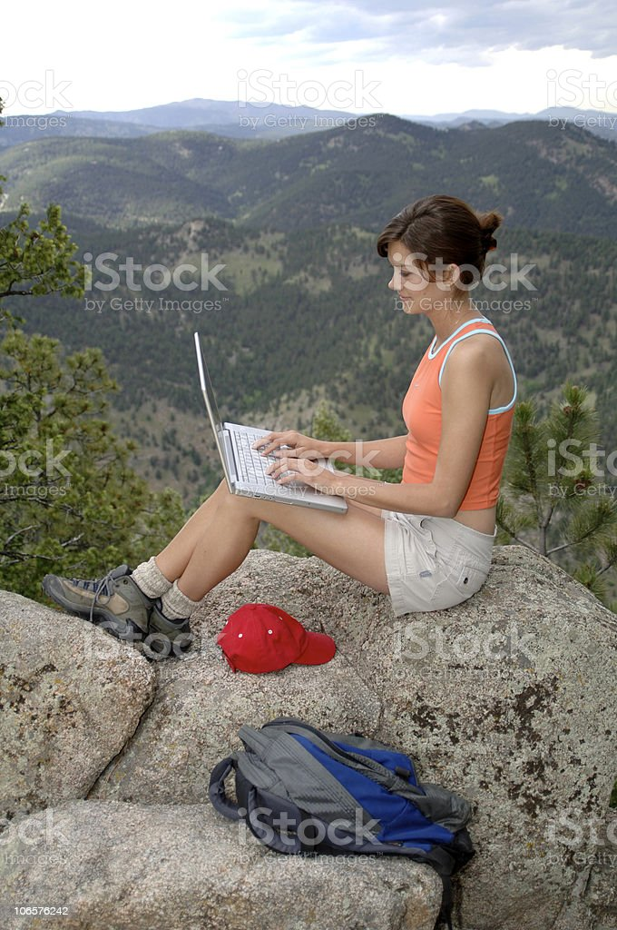 Woman in Mountains with Laptop (Vert.) royalty-free stock photo