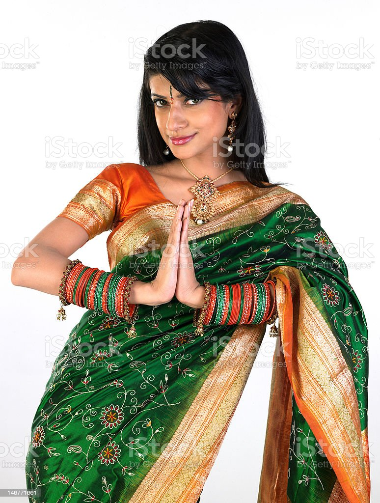 woman in namaskaram pose royalty-free stock photo