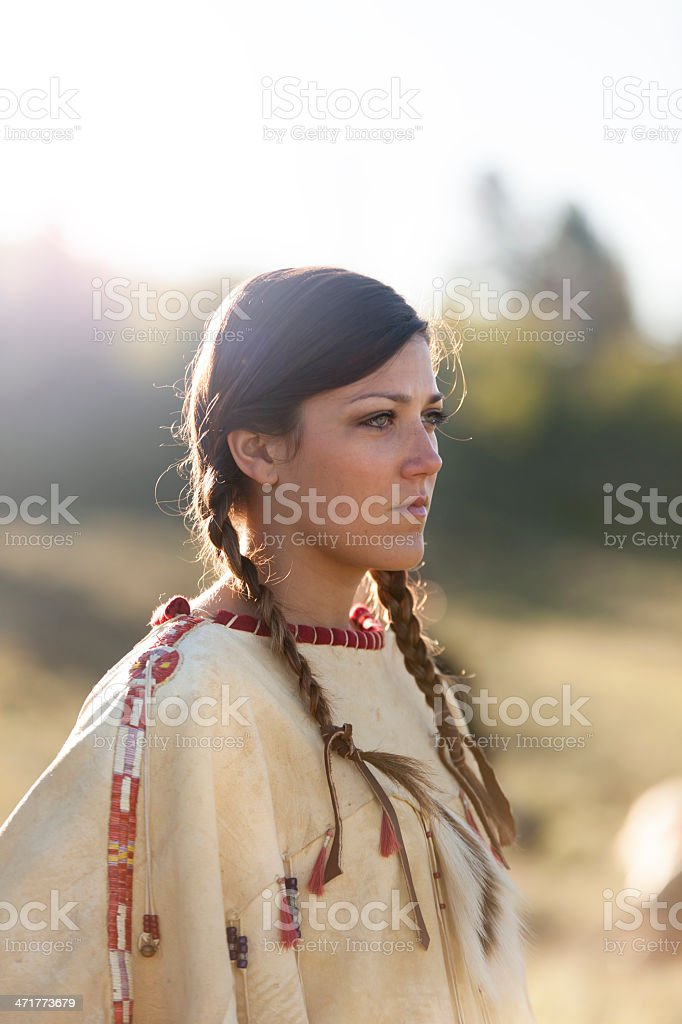 Woman in Native American Costume stock photo