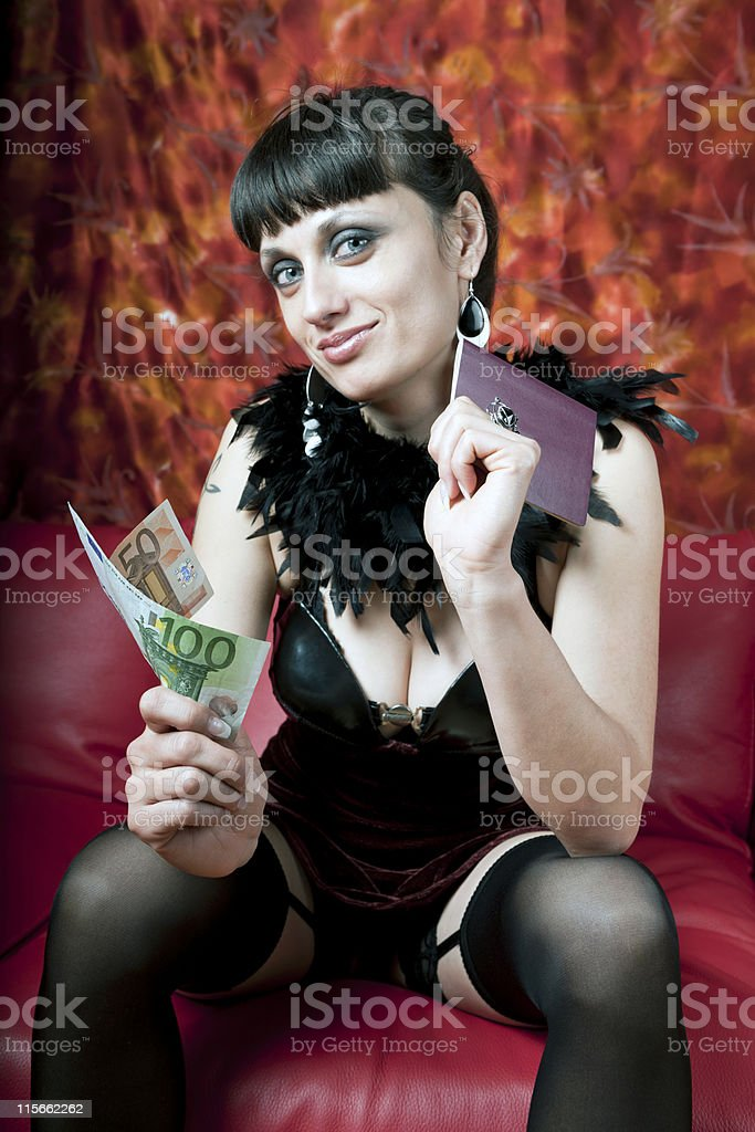 Woman in Nightclub with Passport and Euros royalty-free stock photo