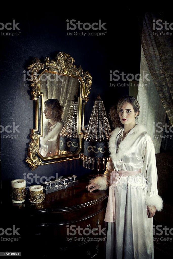 Woman in Nightgown stock photo