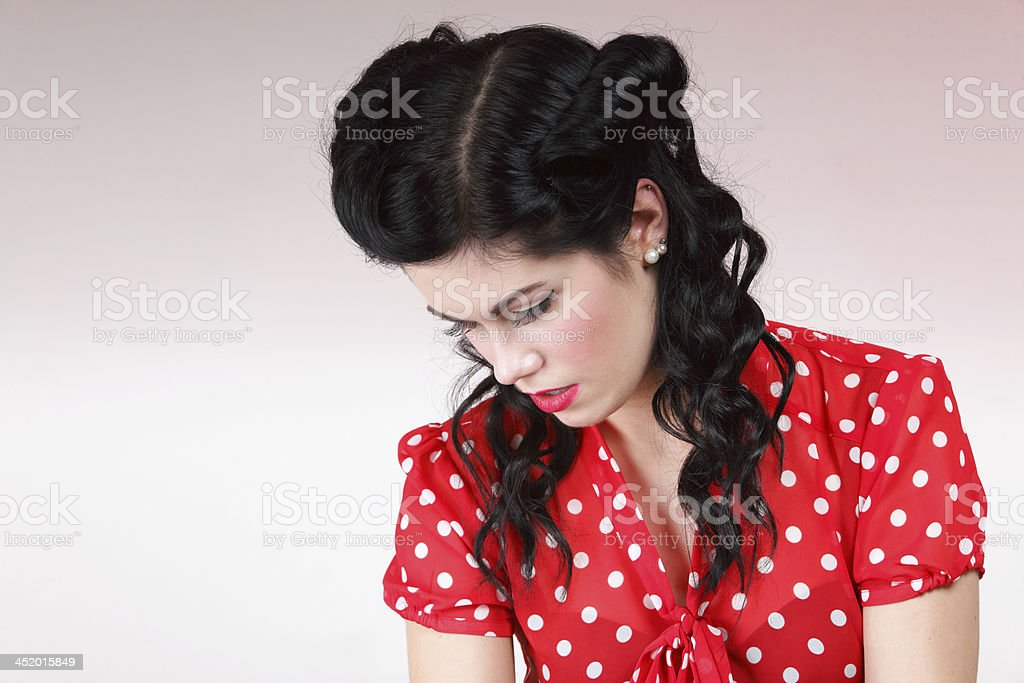 woman in old fashion clothes retro style stock photo