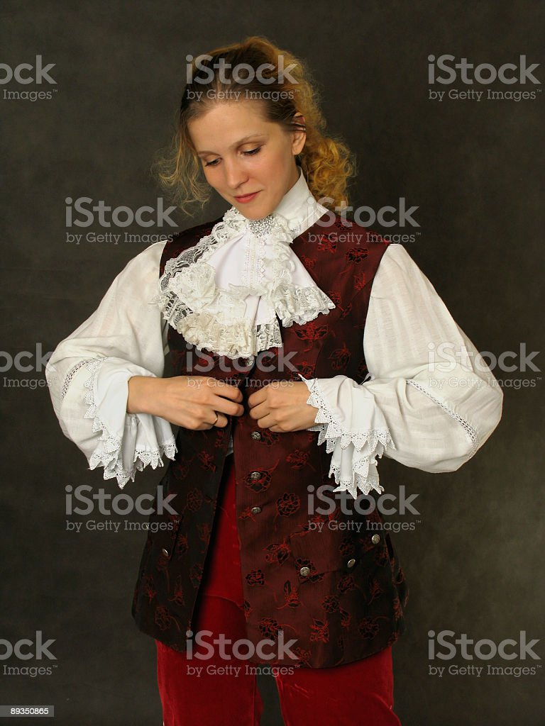 Woman in old french clothes stock photo