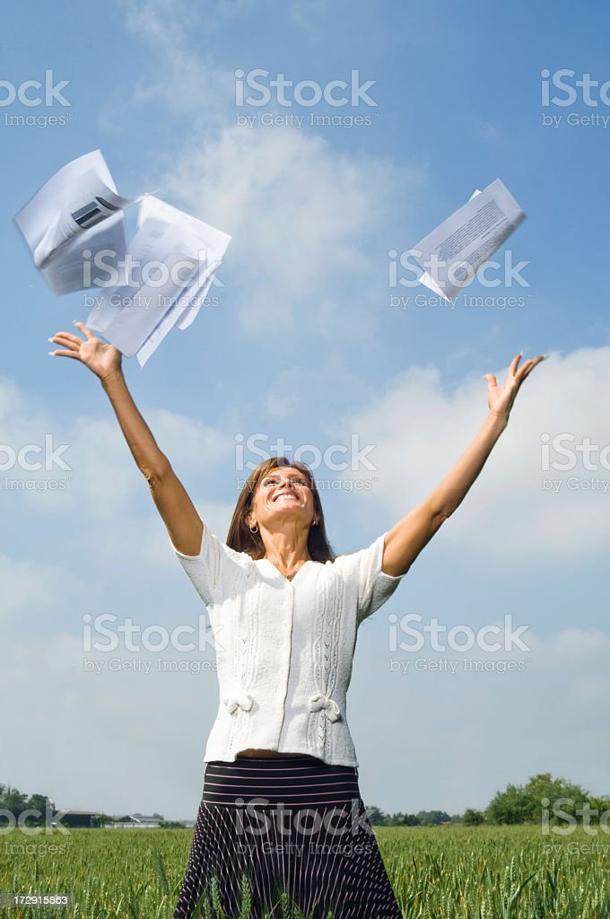Woman in Open Field Series royalty-free stock photo