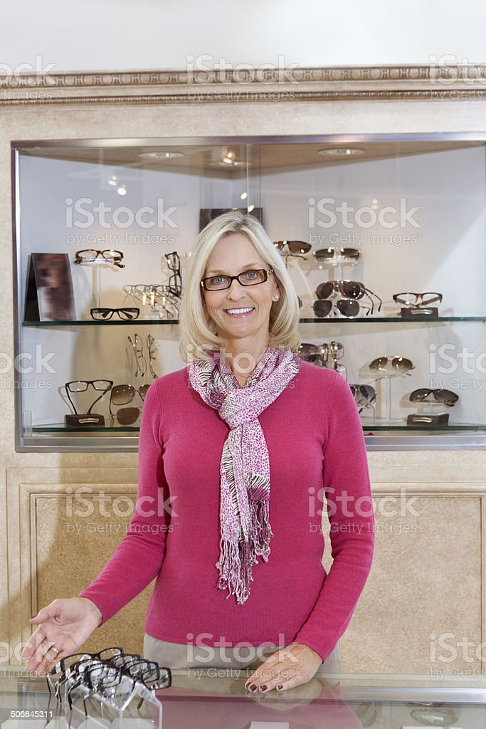 Woman in Opticians royalty-free stock photo