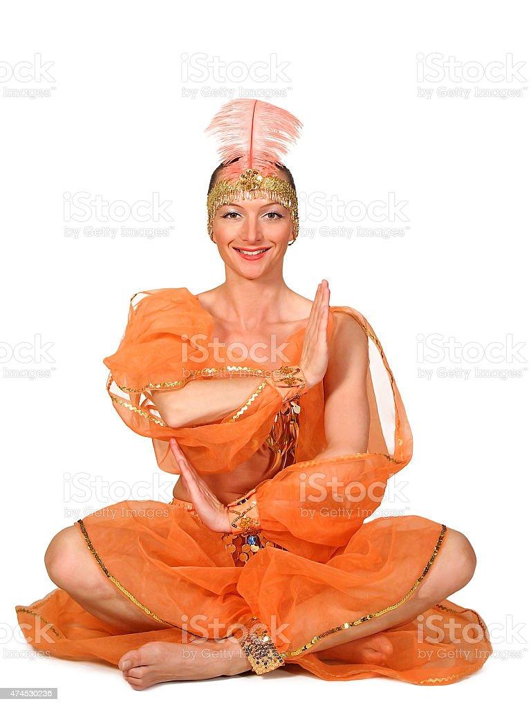 Woman in oriental costume stock photo