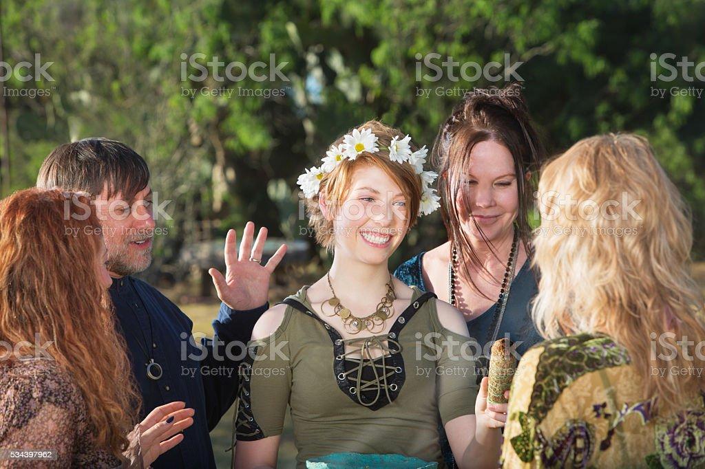 Woman in Pagan Initiation Ritual stock photo