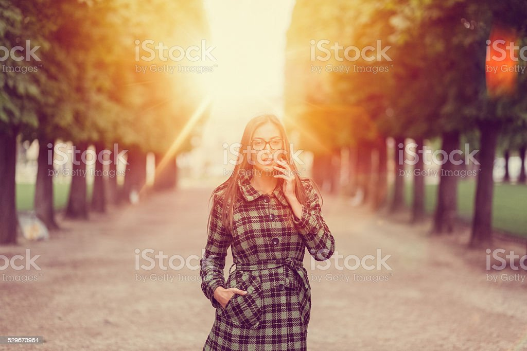 Woman in Paris can't believe her eyes stock photo