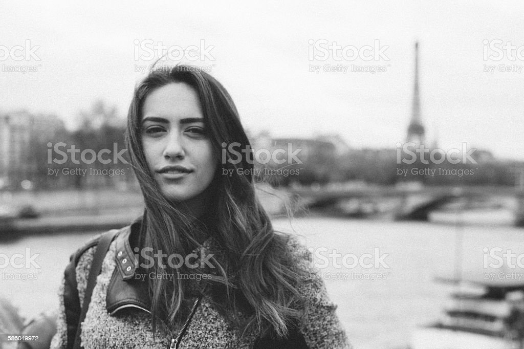 Woman in Paris stock photo