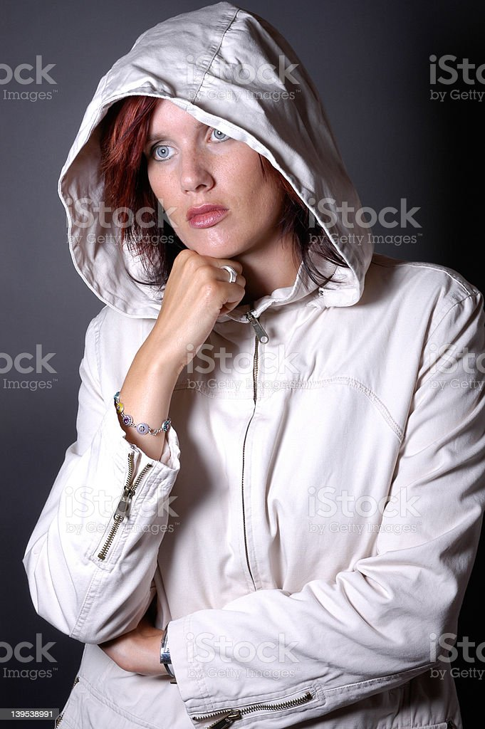 woman in parka royalty-free stock photo