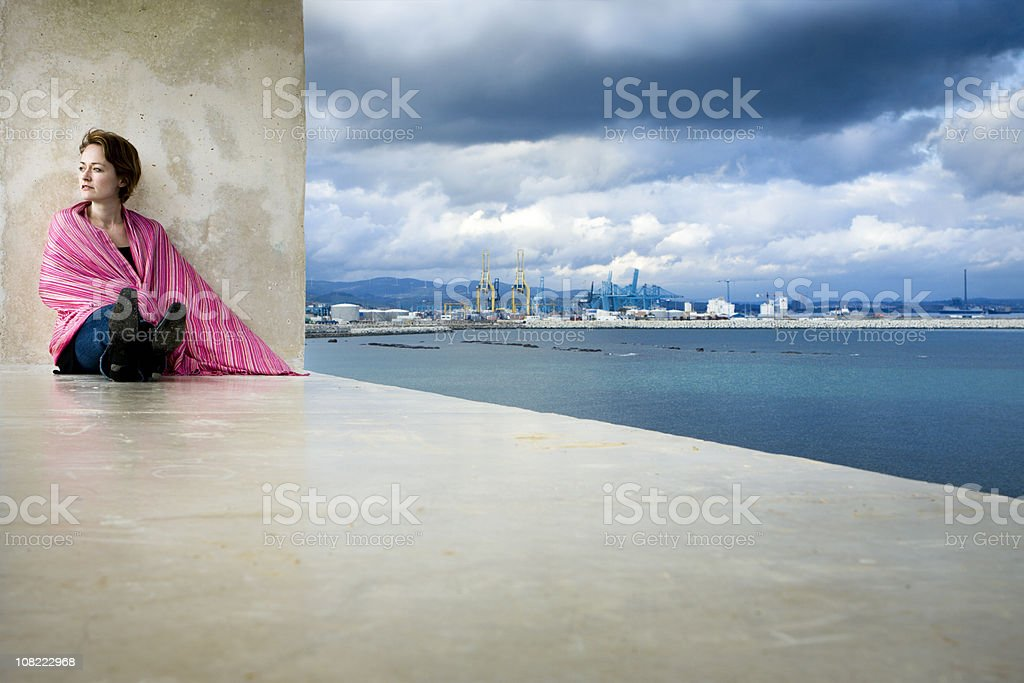 Woman in Pink Shawl royalty-free stock photo