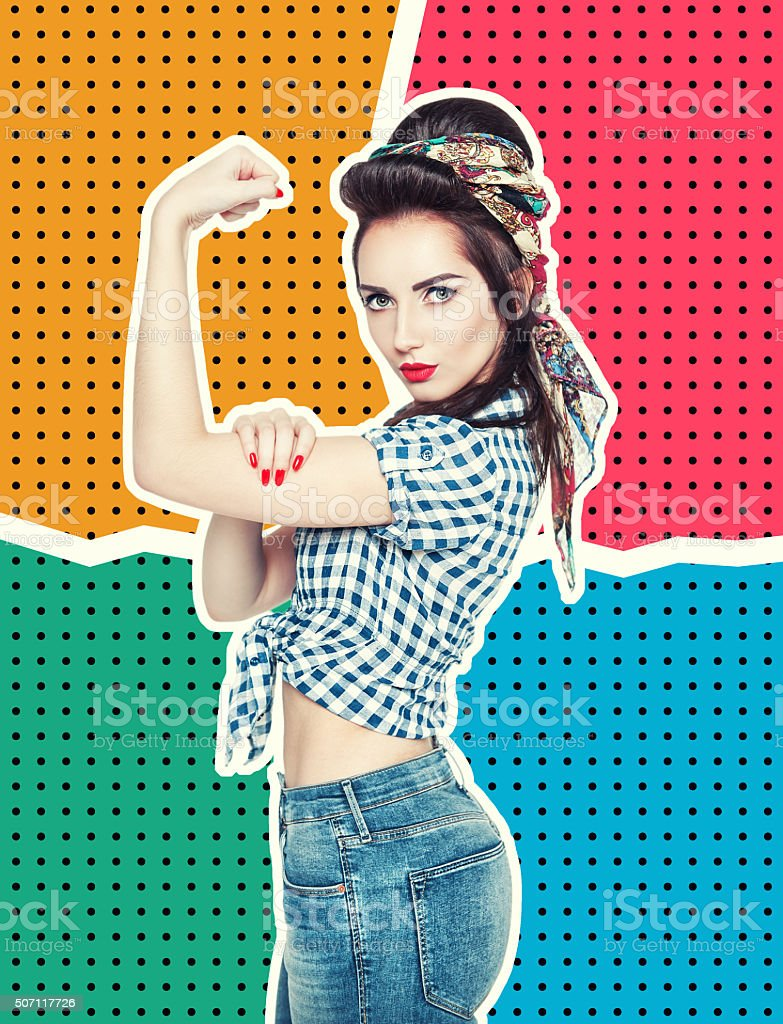 Woman in pin-up style with gesture We Can Do IT stock photo