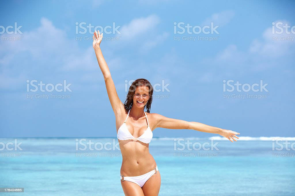 Woman in playful mood stock photo