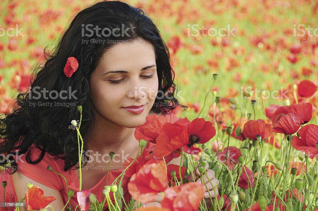 Woman in poppy field series royalty-free stock photo
