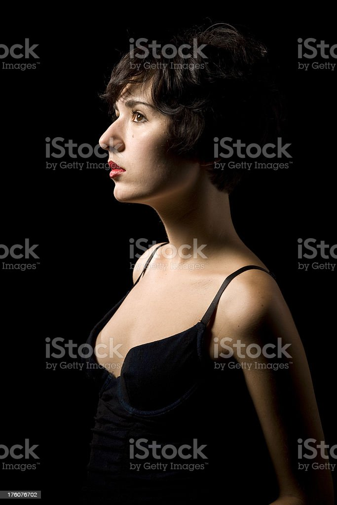 woman in profile royalty-free stock photo