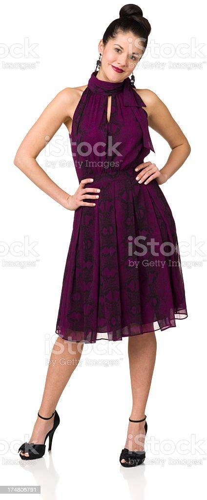 Woman In Purple Dress, Full Length Portrait royalty-free stock photo
