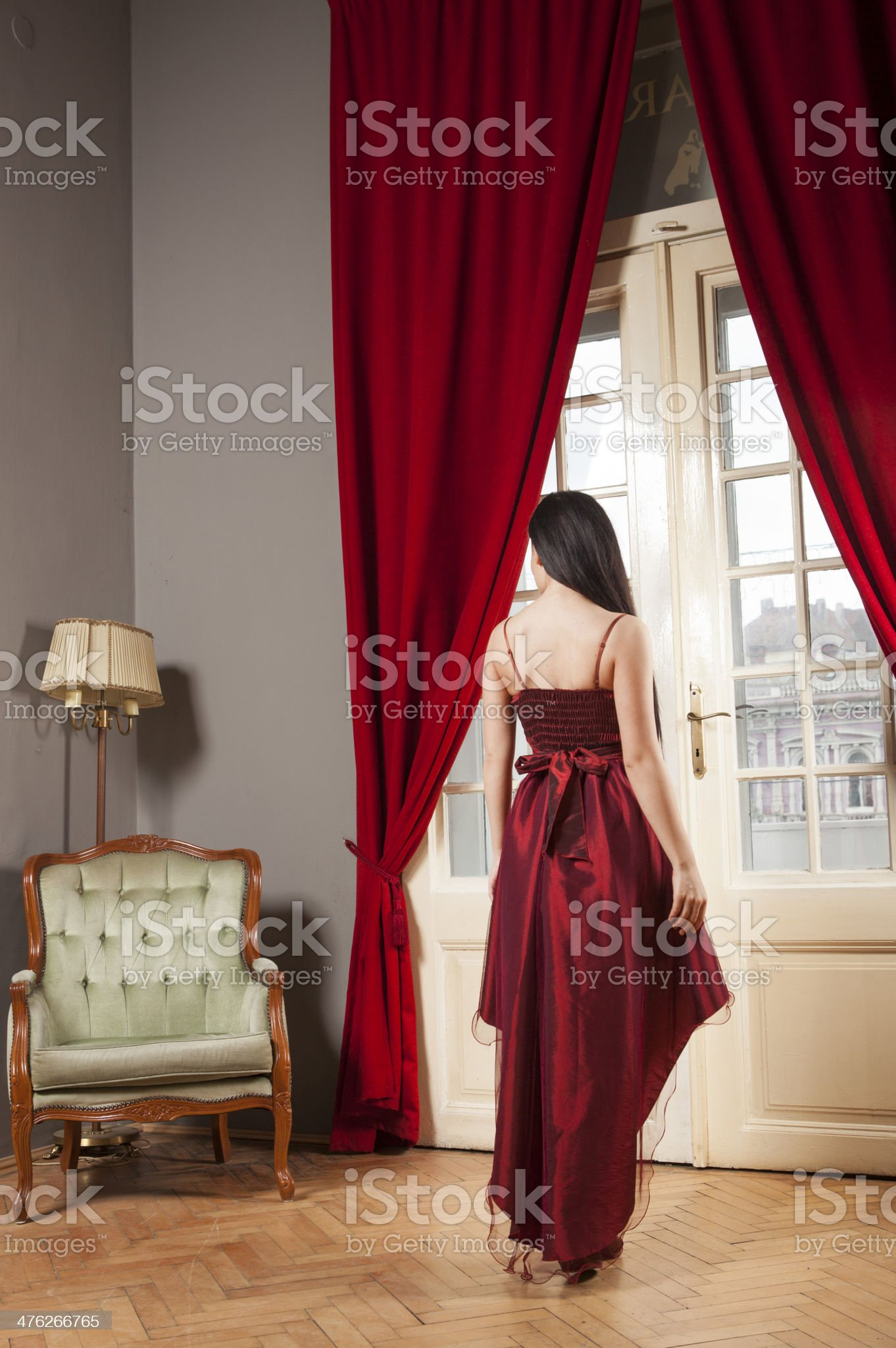 Woman in purple dress royalty-free stock photo