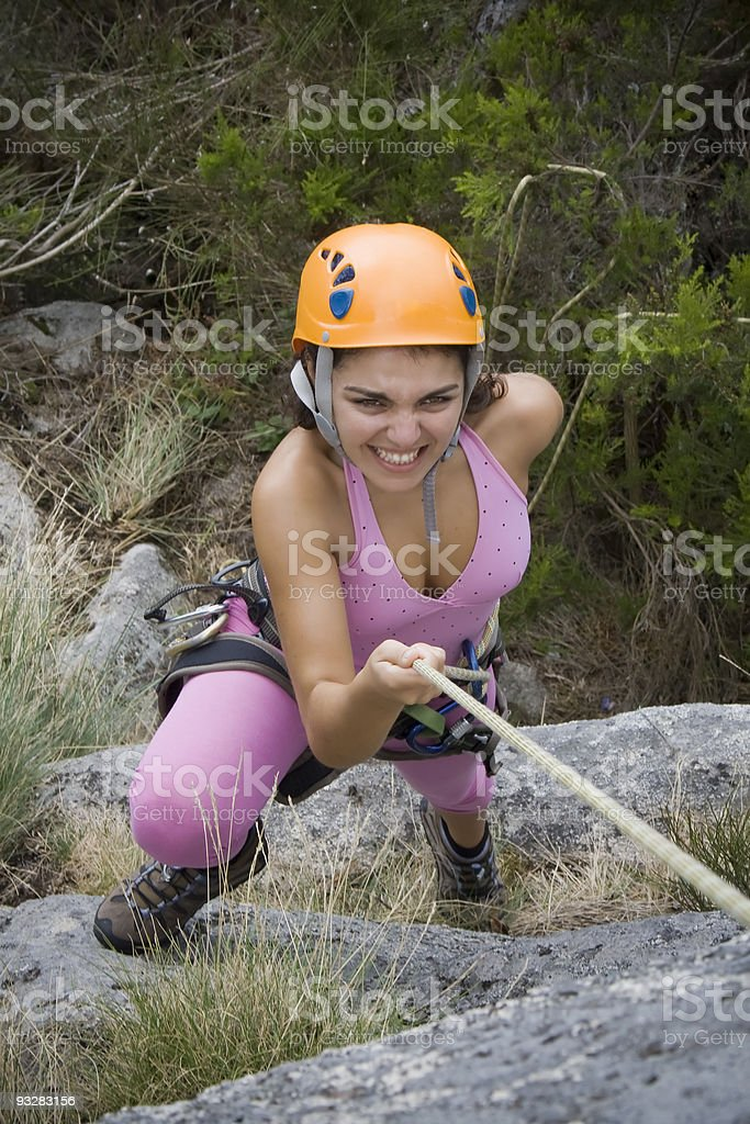 Woman in rappel royalty-free stock photo