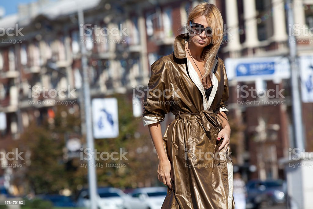 Woman in rays of the autumn sun royalty-free stock photo