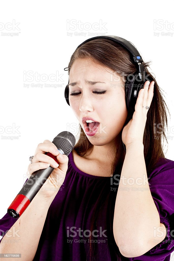 Woman in recording studio royalty-free stock photo