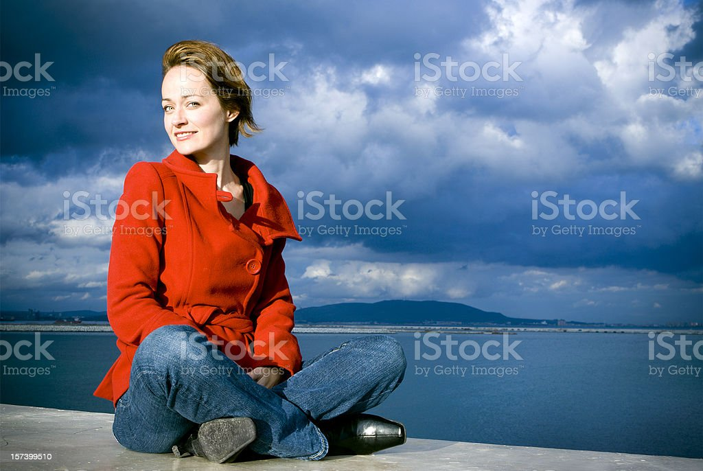 Woman in Red Coat royalty-free stock photo