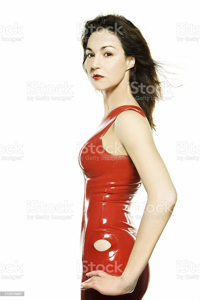 woman in red dress on white bacground royalty-free stock photo