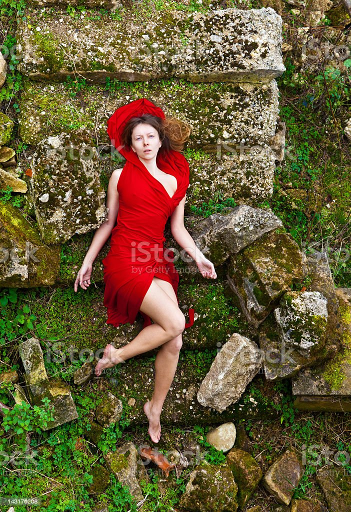 Woman in Red Dress royalty-free stock photo