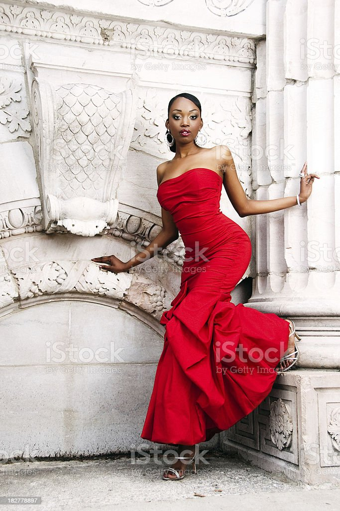 Woman in red gown. stock photo