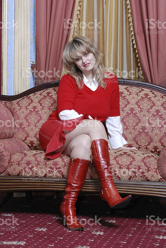 woman in red knee-boots royalty-free stock photo