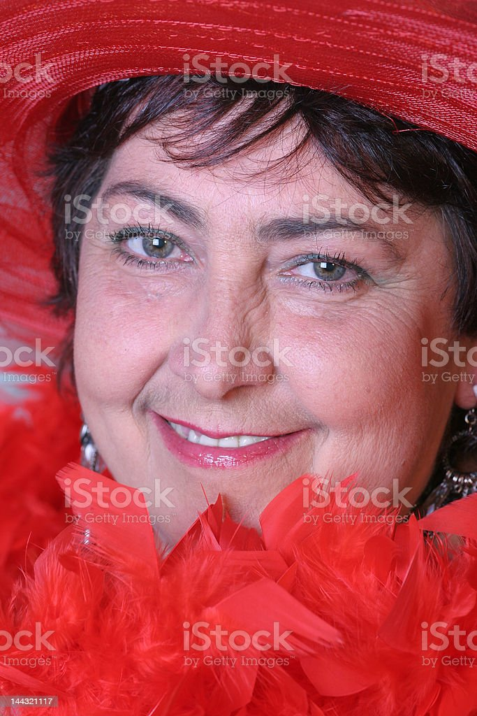 woman in red royalty-free stock photo