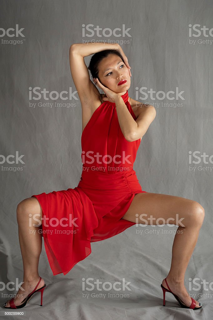 Woman in red stock photo