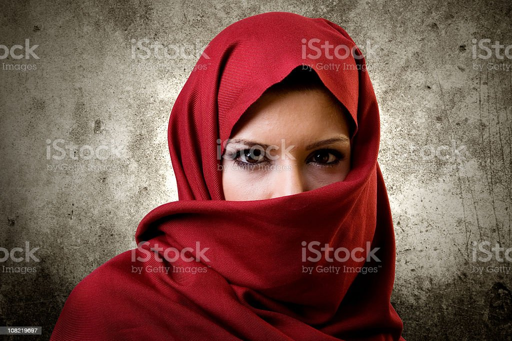 Woman in red scarf stock photo