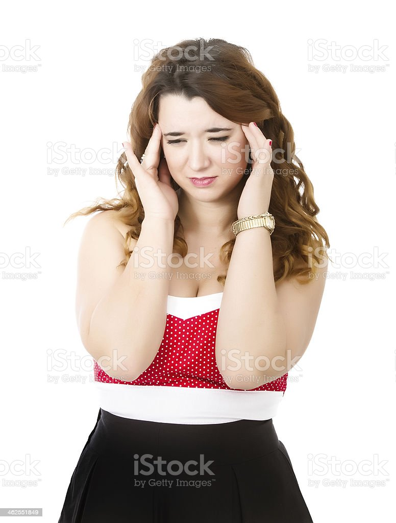 woman in red terrible headache royalty-free stock photo