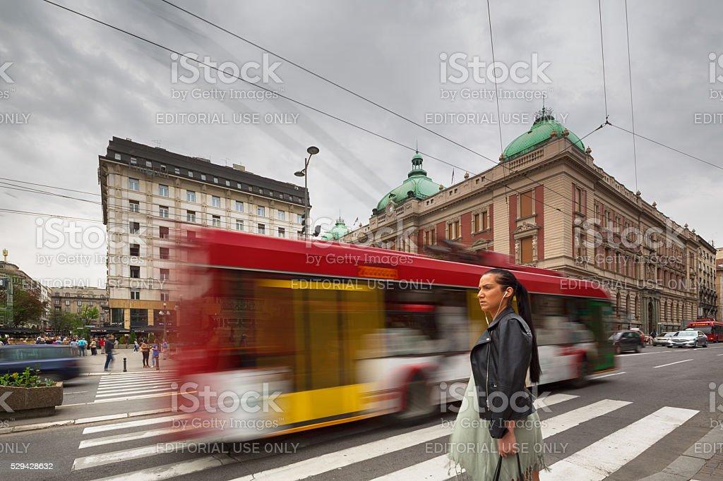Woman in Republic Square, Belgrade stock photo