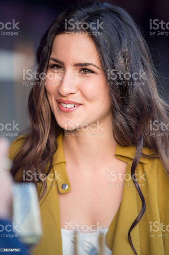 Woman in restaurant stock photo
