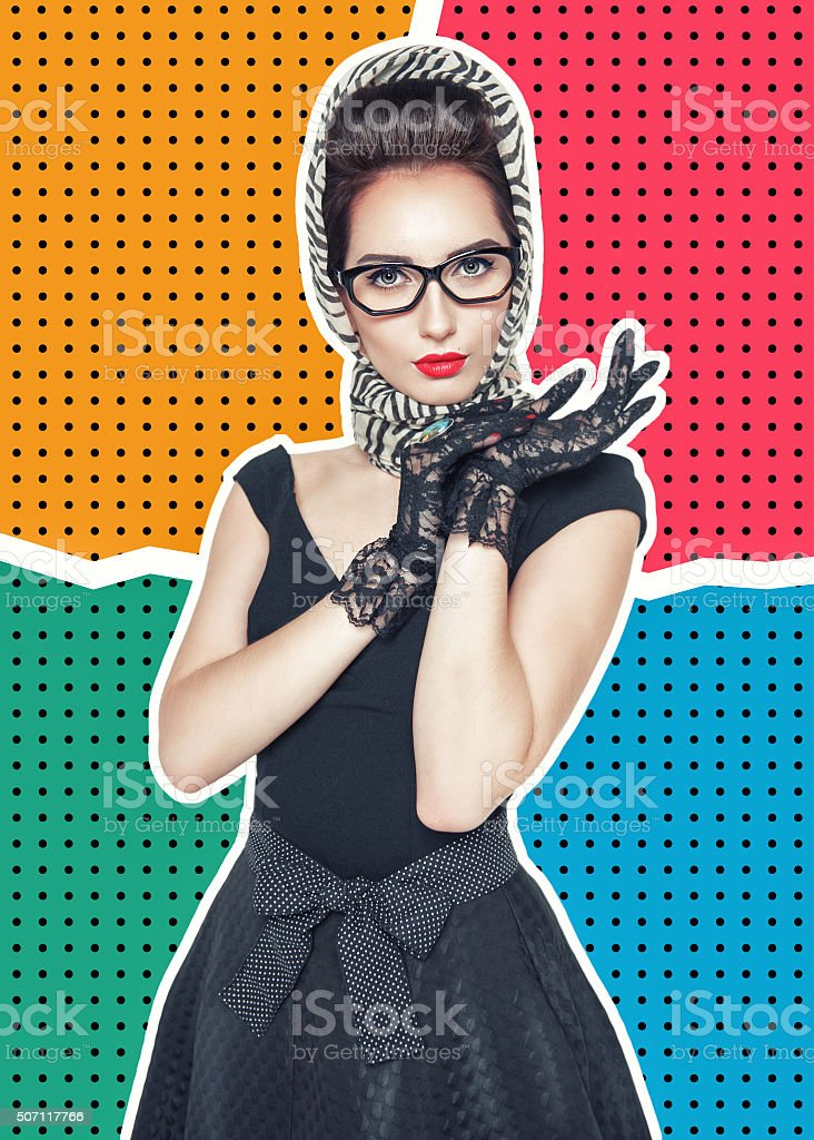 Woman in retro pin-up style on halftone background stock photo