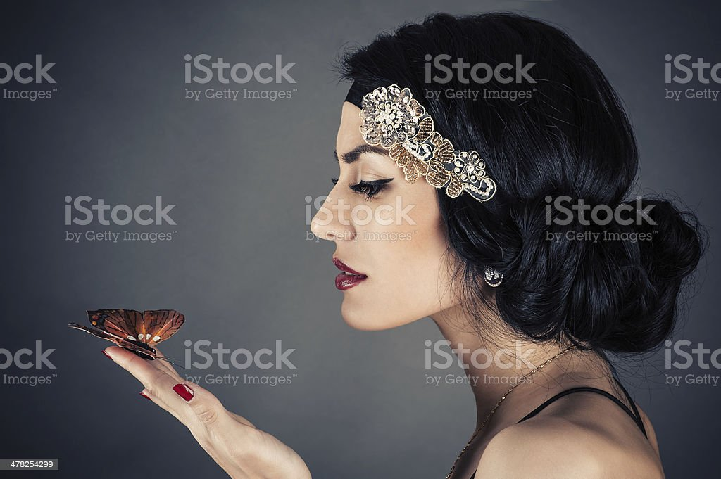 woman in retro style stock photo