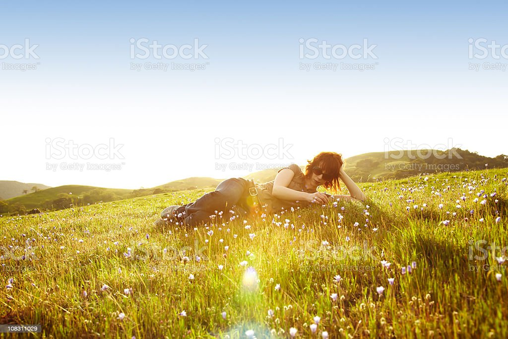 Woman in Rural Setting royalty-free stock photo