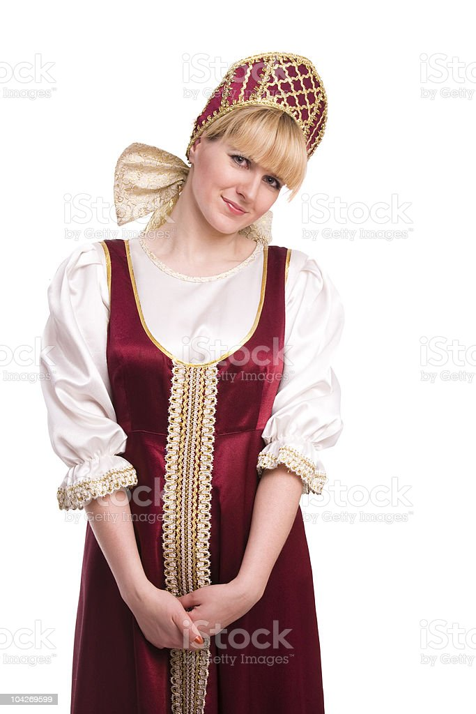 Woman in Russian traditional costume stock photo