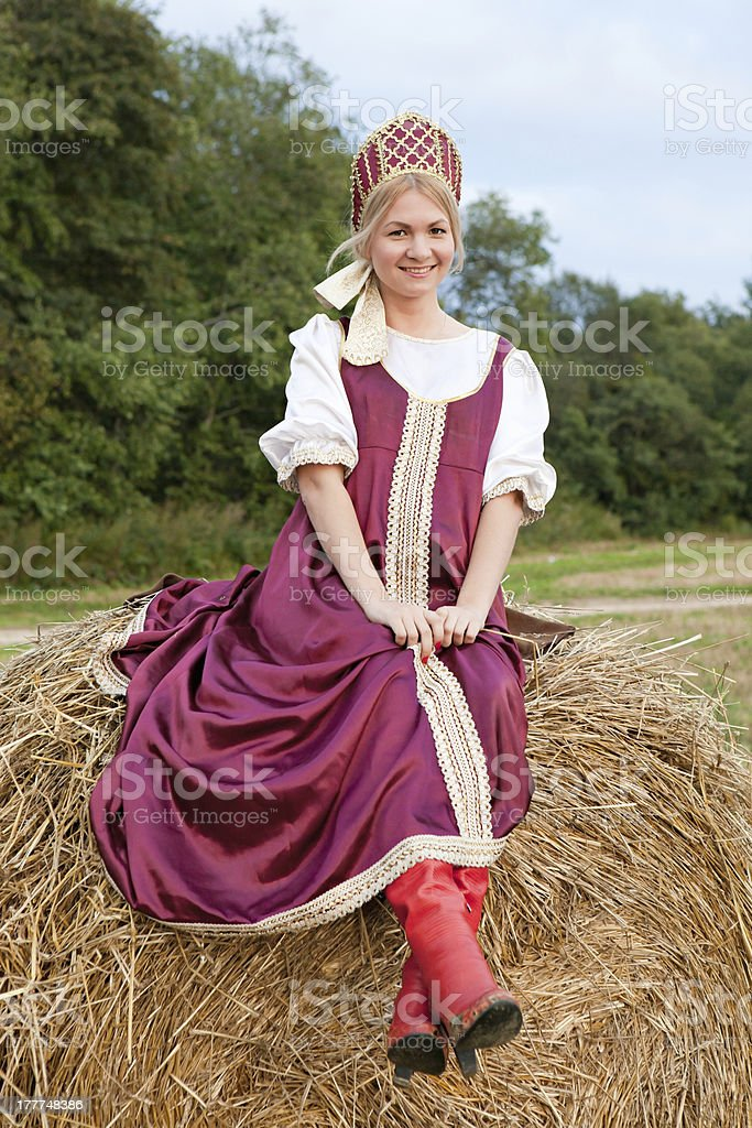 Woman in Russian traditional costume royalty-free stock photo