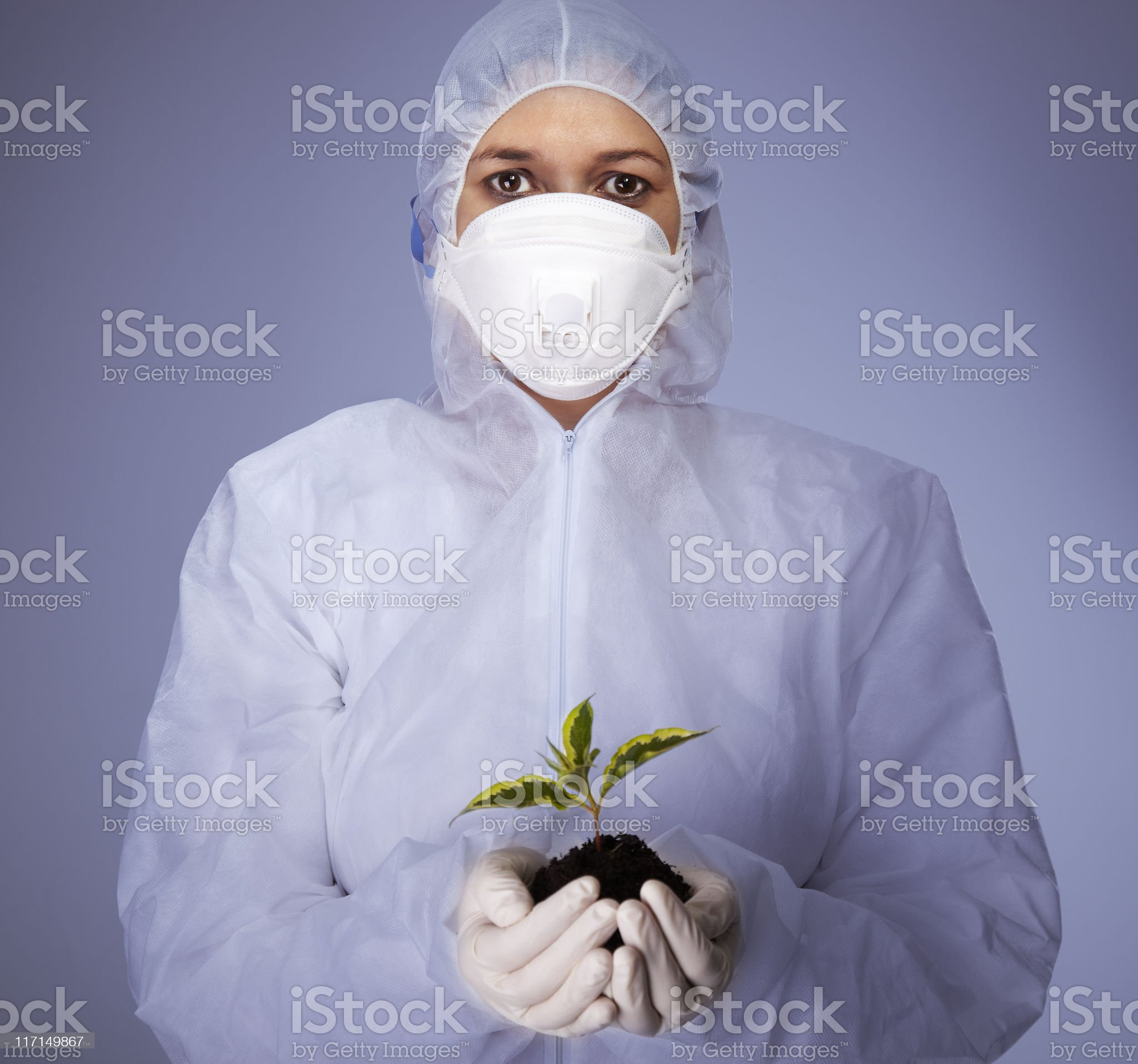 Woman in safety suit royalty-free stock photo
