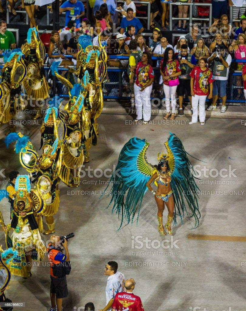 Woman in Sambadrome Carnival Parade Showing Off, Rio de Janeiro stock photo