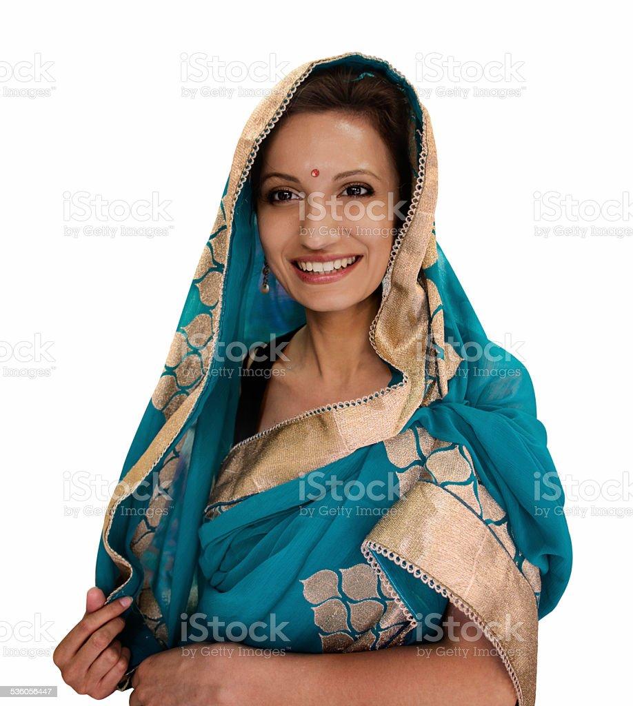 Woman in Sari in India stock photo